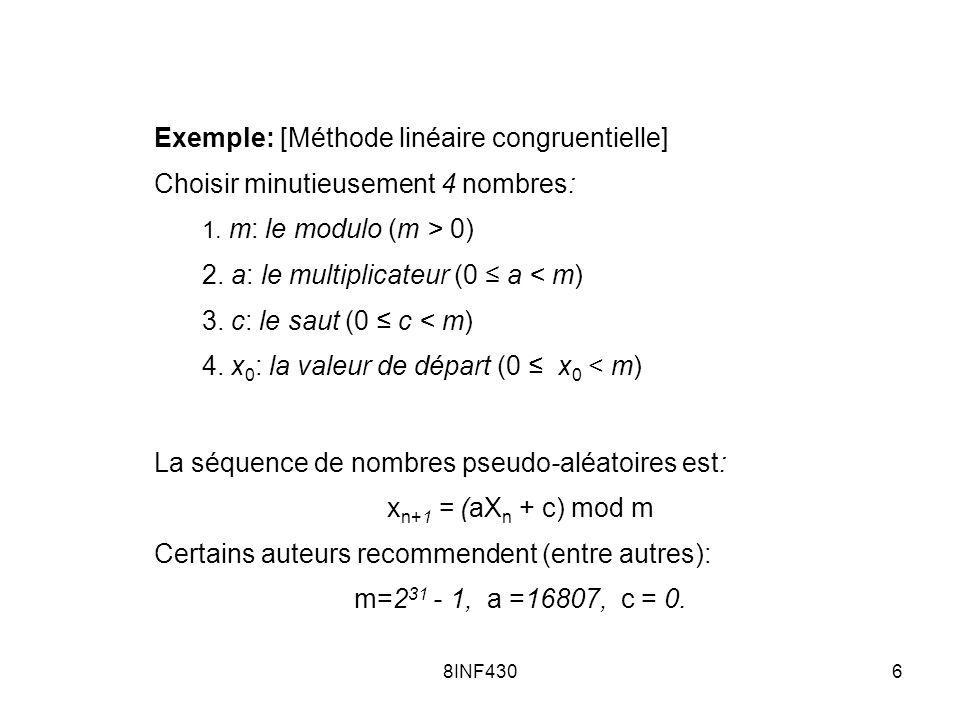 Exemple: [Méthode linéaire congruentielle]